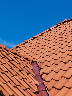 roof repair on a tile valley
